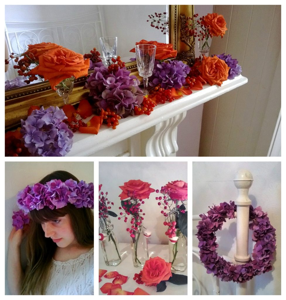 Event Flowers: Mantelpiece, Flowers Crown and Floral Table Decoration - Florist based in Woodford Green, Essex.